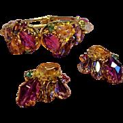 Vintage Juicy Faceted Glass Lucite Pebble Clamper Bracelet Earrings Set