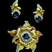 Vintage Jomaz Faux Sapphire Diamante Brooch Earrings Set