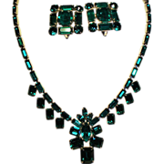 Vintage Joseph Wiesner N.Y. Emerald Green Rhinestone Necklace Earrings Demi Parure