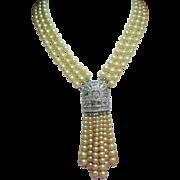 Vintage KJL Kenneth J Lane Marvella Art Deco Style Faux Pearl Drippy Necklace