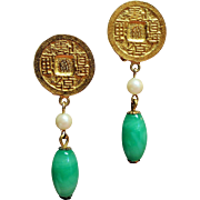Vintage KJL Kenneth J Lane Asian Faux Jade Drop Earrings