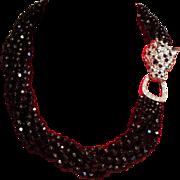 Vintage K.J.L. Kenneth J Lane Black Faceted Glass Bead Torsade Necklace Rhinestone Leopard ...
