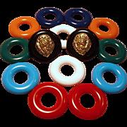Vintage KJL Kenneth J Lane Lion Stud Interchangeable Lucite Pierced Earrings