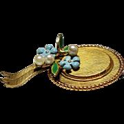 Vintage Krementz Hat Enamel Cultured Pearls Pin