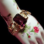 Vintage Retro Modern Large Amethyst Glass Stone Bracelet