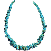 Vintage Native American  Larger Turquoise Nugget Strand Necklace Sterling Clasp