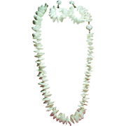 Vintage Miriam Haskell White Sea Shell Necklace Large Drop Hoop Earrings Demi Parure