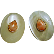 Vintage Coral Mother of Pearl Large Disc Pierced Earrings
