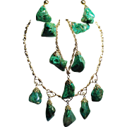 Vintage Natural Malachite Chrysocolla Nugget Gold Filled Choker Necklace Bracelet Drop Earring
