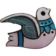 Vintage Margot De Taxco Mexico Sterling Enamel Petite Dove Pin