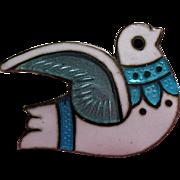 Vintage Margot De Taxco Mexico Sterling Enamel Petite Dove Pin