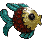 Vintage Margot De Taxco Mexico Sterling Enamel Fish Petite Pin