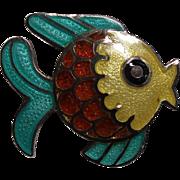 Vintage Margot De Taxco Mexico Sterling Enamel Fish Pin