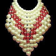 Vintage Marvella Faux Pearl Cranberry Pink Drippy Bead Massive Bib Necklace