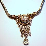 Vintage Mazer Brothers Retro Modern Flower Rhinestone Pendant Necklace
