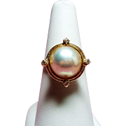 Vintage Estate Mabe Pearl Diamond 14K Yellow Gold Ring