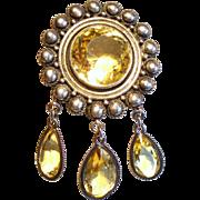 Vintage Mexican Sterling Huge Citrine Brooch Droplets