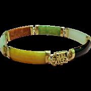 Vintage Multi Color Jade Link 14K Bracelet Chinese Happiness Symbol Clasp
