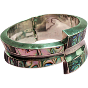 Vintage Sterling Taxco Mexico Abalone Hinged Cuff Bracelet