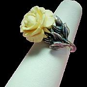 Vintage Napier Faux Ivory Rose Adjustable Sterling Ring