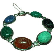 Vintage Egyptian Revival Carved Natural Stone Scarab Sterling Bracelet
