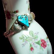 Vintage Signed Native American Turquoise Sterling Leaf Cuff Bracelet