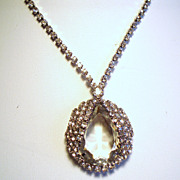 Vintage Open Back Clear Stone Pendant Rhinestone Necklace