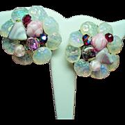 Vintage Opaline Art Glass Hand Wired Bead Rhinestone Large Cluster Earrings