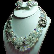 Vintage Original By Robert Crystal Bead Rhinestone Ball Triple Strand Necklace Huge Ornate ...