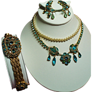Vintage Original By Robert Faux Aqua Jewels Filigree Necklace Bracelet Earrings Parure