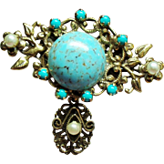 Vintage Original By Robert Faux Turquoise Matrix Cabochon Simulated Pearl Drop Brooch.