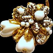 Vintage Original By Robert Fruit & Flowers Crystals Beads Brooch