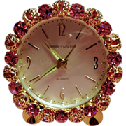 SOLD Vintage Phinney Walker Germany Pink Rhinestone Boudoir Clock Original Box
