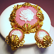 Vintage West Germany Molded Roses Under Dome Pink Brooch Earrings Set
