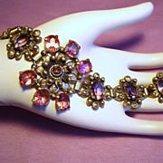 Vintage Pink Lavender Glass Stone Flower Pot Metal Bracelet