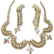 Vintage Hand Painted White Milk Glass Rhinestone Swag Collar Necklace Long Cascading Earrings
