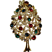 Vintage Sphinx of England Poinsettia Rhinestone Christmas Tree Brooch
