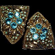 Vintage Art Deco Pair Dress Clips Zircon Blue Rhinestones