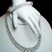 Vintage Art Deco Unique Faceted Rock Crystal Necklace Bracelet Sterling Set