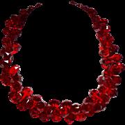 Vintage Red Faceted Briolette Crystal Bead Necklace
