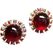 Vintage Large Red Glass Cabochon Stone Rhinestone Earrings
