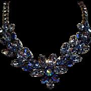 Vintage Regency Shades of Icy Blue Navette Rhinestone Necklace