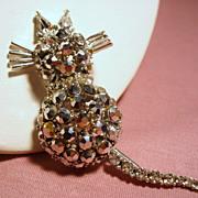 Vintage Rhinestone Cat Trembling Spring Tail Brooch