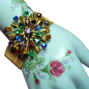 Vintage Multiple Color Rhinestone Starburst Medallion Sleek Bracelet