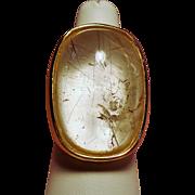 Vintage Huge 26 Carat Rutilated Quartz Cabochon Stone Ring