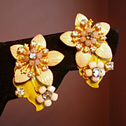 Vintage Robert Enamel Flower Rhinestone Earrings