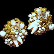 Vintage Robert Milk Glass Stones Beads & Crystals Cluster Earrings