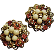 Vintage Robert Pink White Chaton Bead Hand Wired Flower Cluster Earrings.
