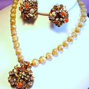 Vintage Robert Style Tangerine Glass Bead Faux Pearls Chatons Necklace Earrings Demi Parure