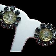 Vintage Schiaparelli Molded Glass Rose Rhinestone Earrings